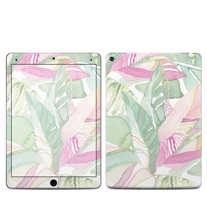 iPad Pro 1st Gen 9.7-inch Skin design of Pink, Leaf, Botany, Pattern, Plant, Flower, Illustration with white, green, pink, orange colors