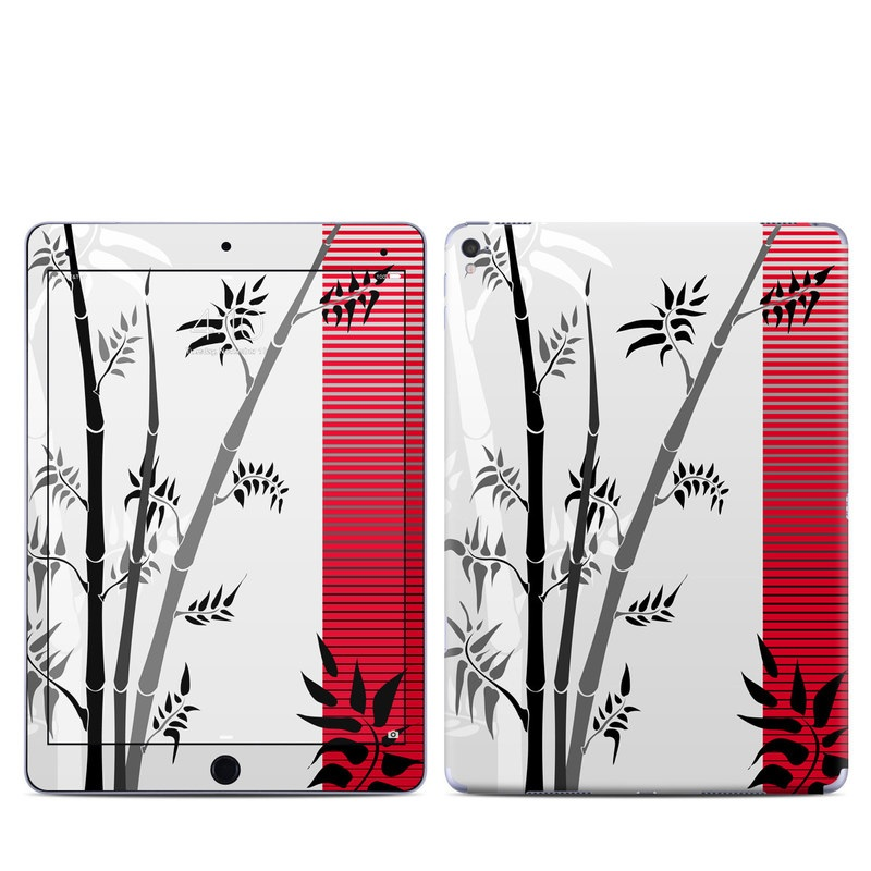 iPad Pro 9.7-inch Skin design of Botany, Plant, Branch, Plant stem, Tree, Bamboo, Pedicel, Black-and-white, Flower, Twig with gray, red, black, white colors