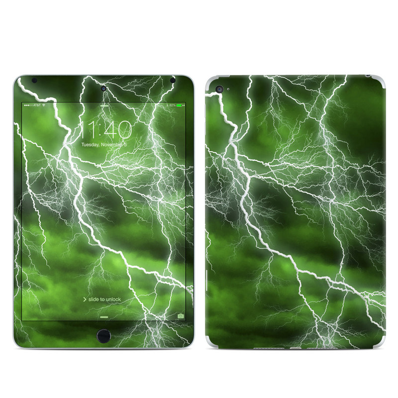 iPad mini 4 Skin design of Thunderstorm, Thunder, Lightning, Nature, Green, Water, Sky, Atmosphere, Atmospheric phenomenon, Daytime with green, black, white colors