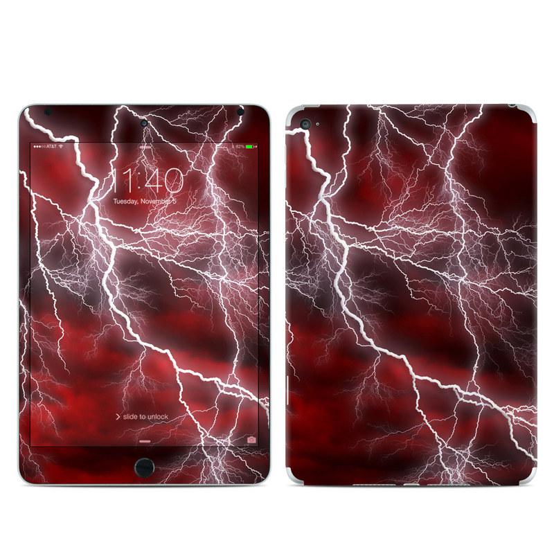 iPad mini 4 Skin design of Thunder, Thunderstorm, Lightning, Red, Nature, Sky, Atmosphere, Geological phenomenon, Lighting, Atmospheric phenomenon with red, black, white colors