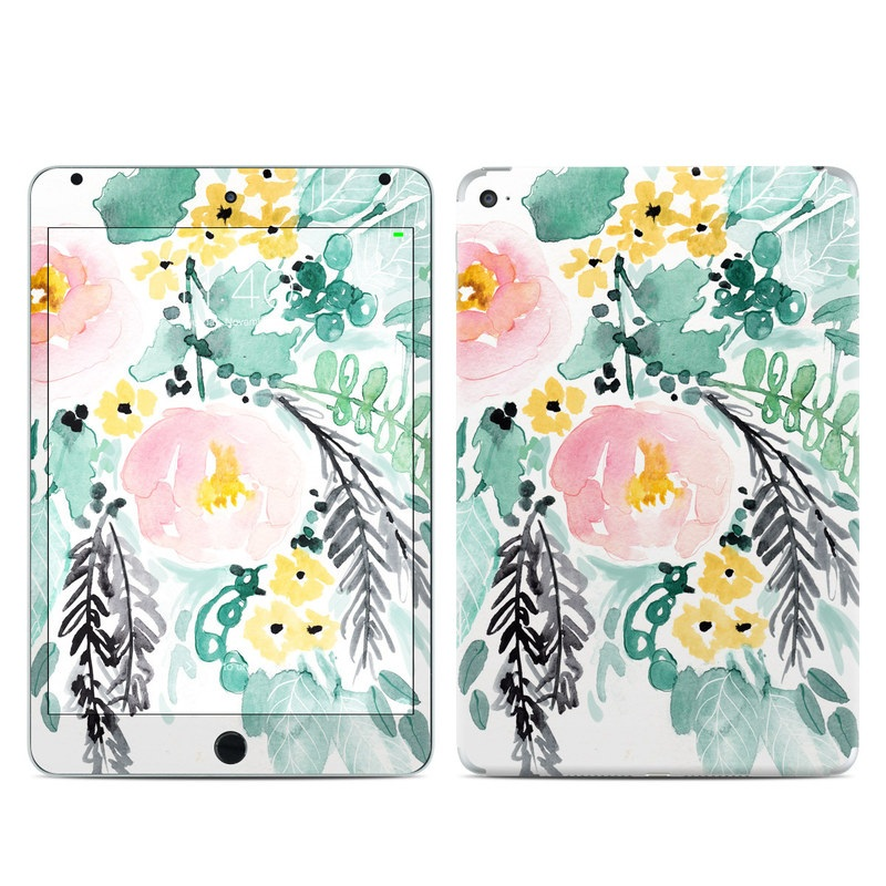 iPad mini 4 Skin design of Branch, Clip art, Watercolor paint, Flower, Leaf, Botany, Plant, Illustration, Design, Graphics with green, pink, red, orange, yellow colors