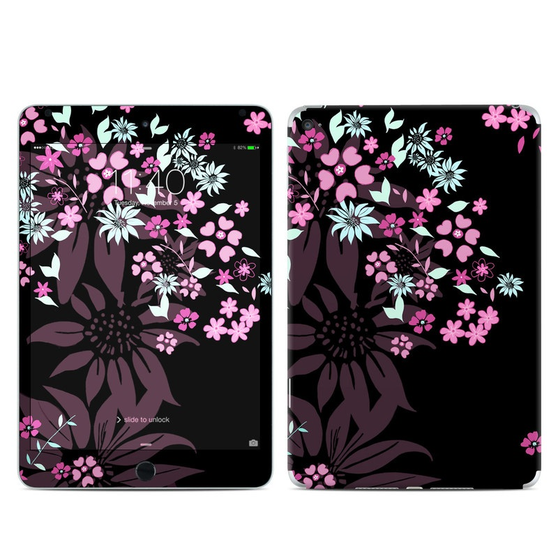 iPad mini 4 Skin design of Pink, Pattern, Flower, Plant, Botany, Petal, Floral design, Design, Pedicel, Graphic design with black, gray, purple, green, red, pink colors