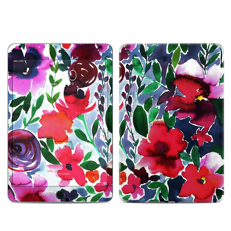 iPad mini 4 Skin design of Flower, Petal, Red, Plant, Pattern, Pink, Purple, Flowering plant, Botany, Design with red, green, pink, blue colors