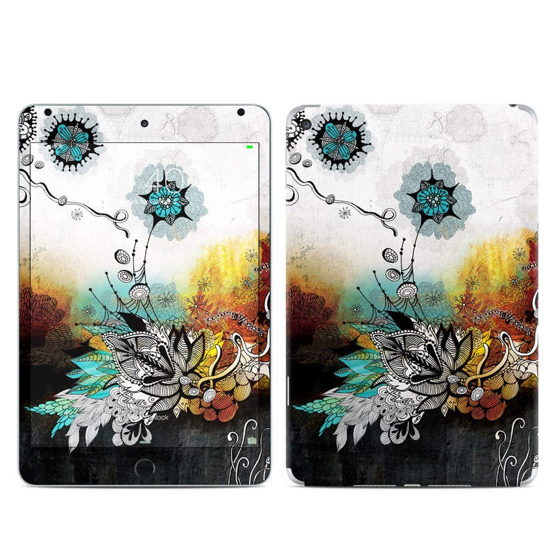 iPad mini 4 Skin design of Graphic design, Illustration, Art, Design, Visual arts, Floral design, Font, Graphics, Modern art, Painting with black, gray, red, green, blue colors