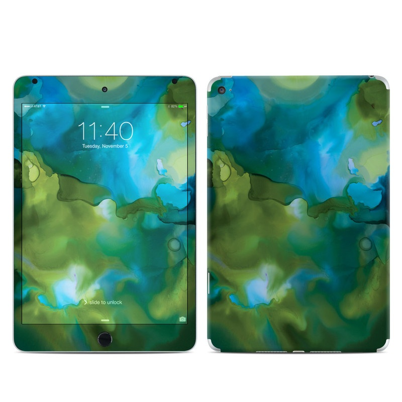 iPad mini 4 Skin design of Aqua, Blue, Green, Painting, Turquoise, Teal, Water, Acrylic paint, Art, Organism with blue, green colors