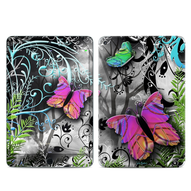 iPad mini 4 Skin design of Butterfly, Pink, Purple, Violet, Organism, Spring, Moths and butterflies, Botany, Plant, Leaf with black, gray, green, purple, red colors