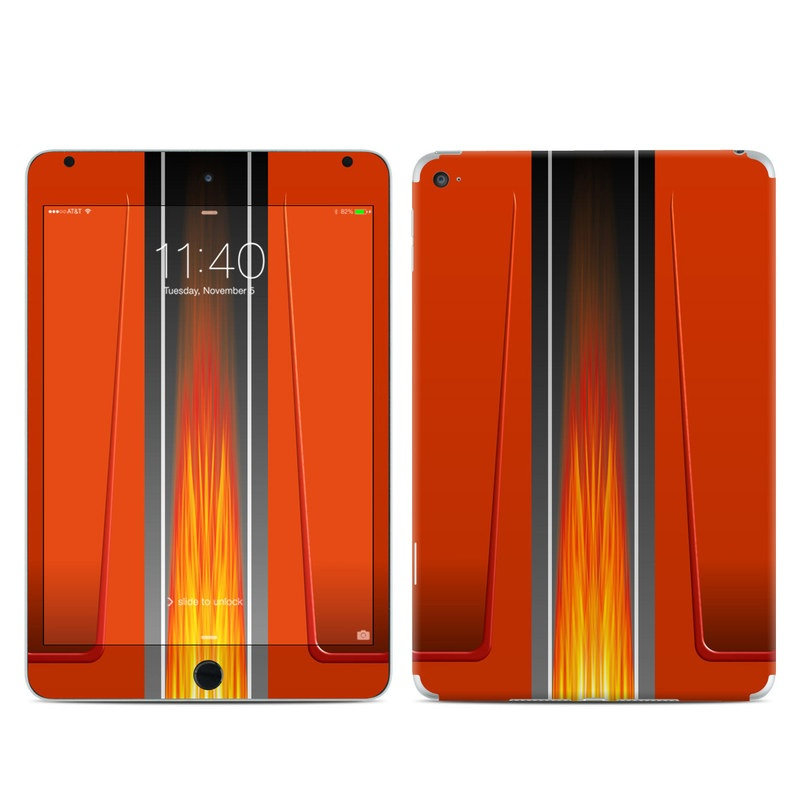 iPad mini 4 Skin design of Orange, Red, Line, Material property, Rectangle, Automotive lighting with red, black, orange, gray colors