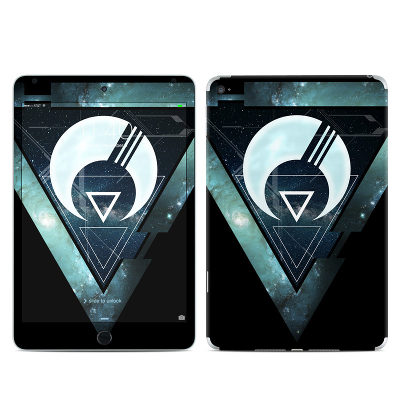 iPad mini 4 Skin design of Logo, Font, Emblem, Graphics, Graphic design, Fictional character, Symbol, Triangle with black, blue, white colors