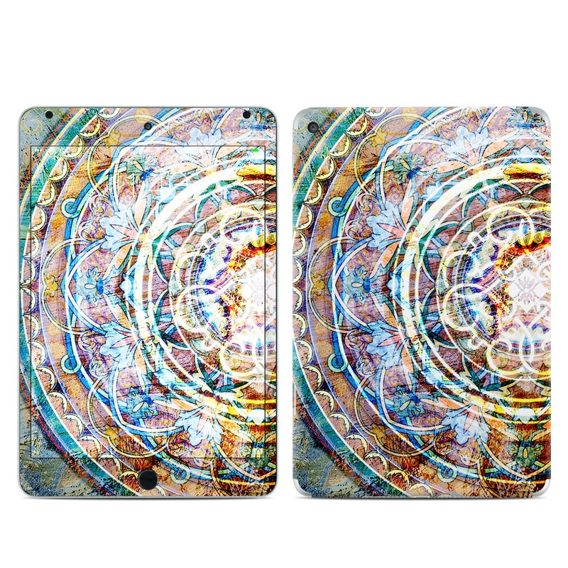 iPad mini 4 Skin design of Circle, Ceramic, Tableware with yellow, red, orange, white, blue, green, gray colors