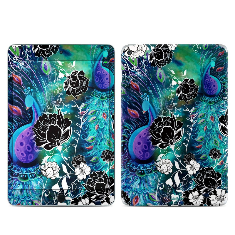 iPad mini 4 Skin design of Pattern, Psychedelic art, Organism, Turquoise, Purple, Graphic design, Art, Design, Illustration, Fractal art with black, blue, gray, green, white colors