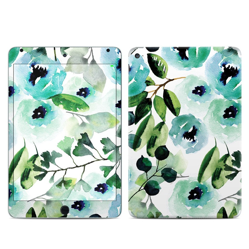 iPad mini 4 Skin design of Green, Pattern, Leaf, Aqua, Plant, Design, Branch, Organism, Flower, Ivy with white, green, blue, black colors