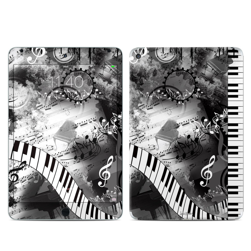 iPad mini 4 Skin design of Music, Monochrome, Black-and-white, Illustration, Graphic design, Musical instrument, Technology, Musical keyboard, Piano, Electronic instrument with black, gray, white colors