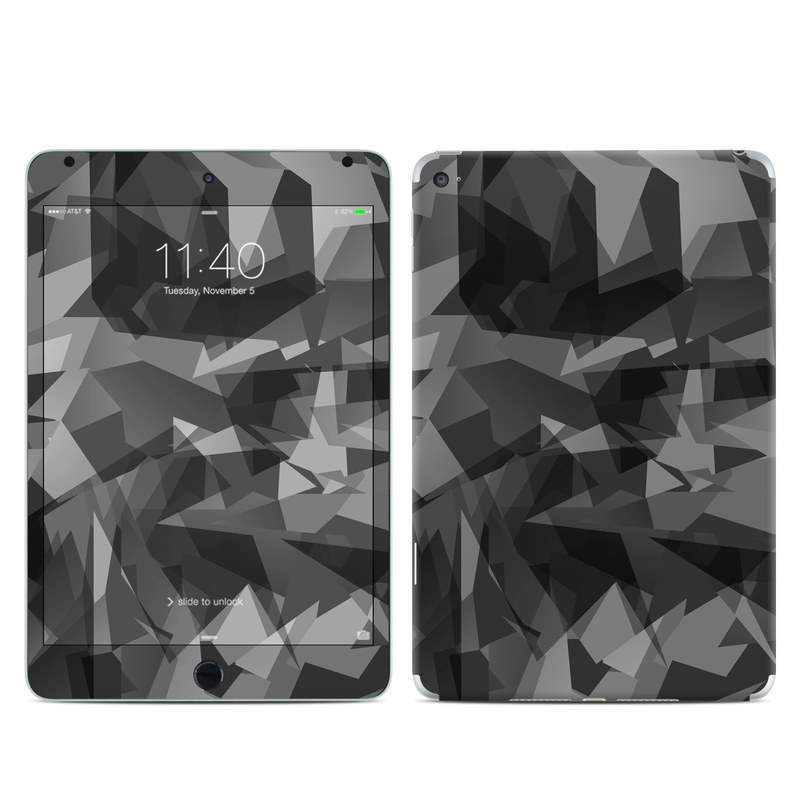 iPad mini 4 Skin design of Black, Pattern, Triangle, Black-and-white, Monochrome, Grey, Design, Line, Architecture, Monochrome photography with black, gray colors