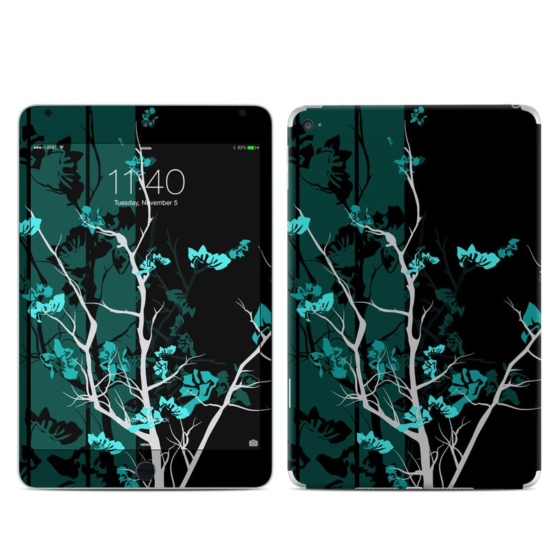 iPad mini 4 Skin design of Branch, Black, Blue, Green, Turquoise, Teal, Tree, Plant, Graphic design, Twig with black, blue, gray colors