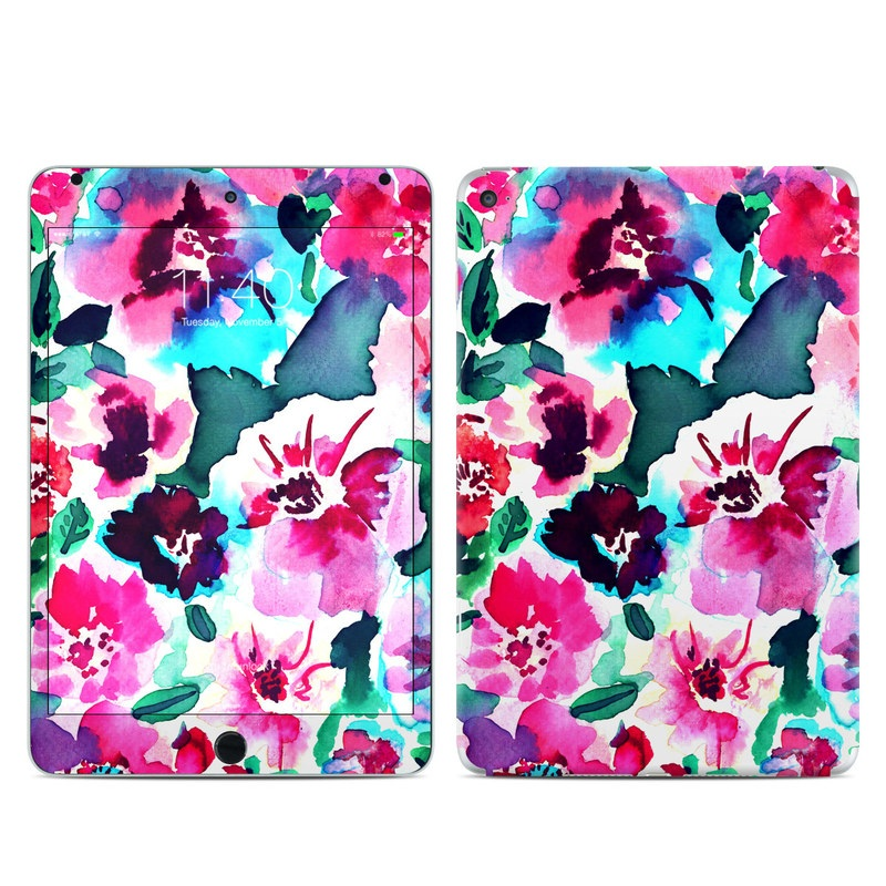 iPad mini 4 Skin design of Flower, Pink, Petal, Plant, Pattern, Hawaiian hibiscus, Design, Magenta, Flowering plant, Watercolor paint with white, pink, blue, green, red colors