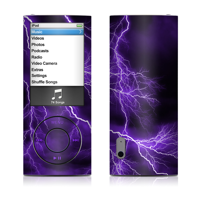 iPod nano 5th Gen Skin design of Thunder, Lightning, Thunderstorm, Sky, Nature, Purple, Violet, Atmosphere, Storm, Electric blue with purple, black, white colors