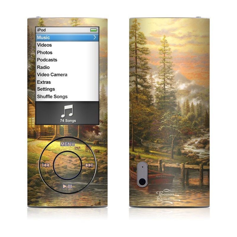 iPod nano 5th Gen Skin design of Natural landscape, Nature, Painting, Tree, Landscape, Morning, Sky, Biome, Sunlight, Forest with orange, red, green, brown colors