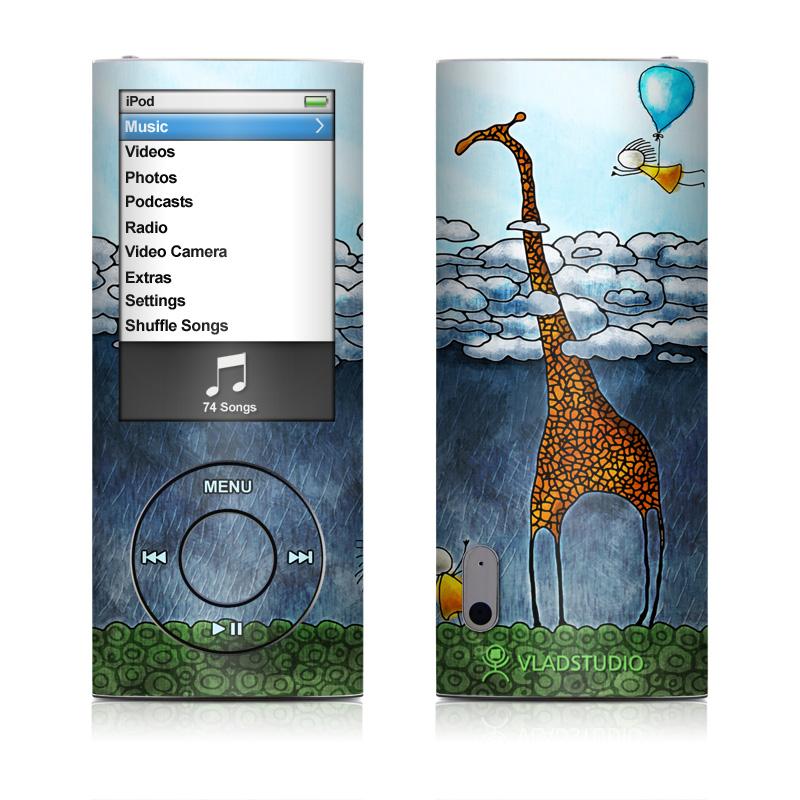 iPod nano 5th Gen Skin design of Giraffe, Sky, Tree, Water, Branch, Giraffidae, Illustration, Cloud, Grassland, Bird with blue, gray, yellow, green colors