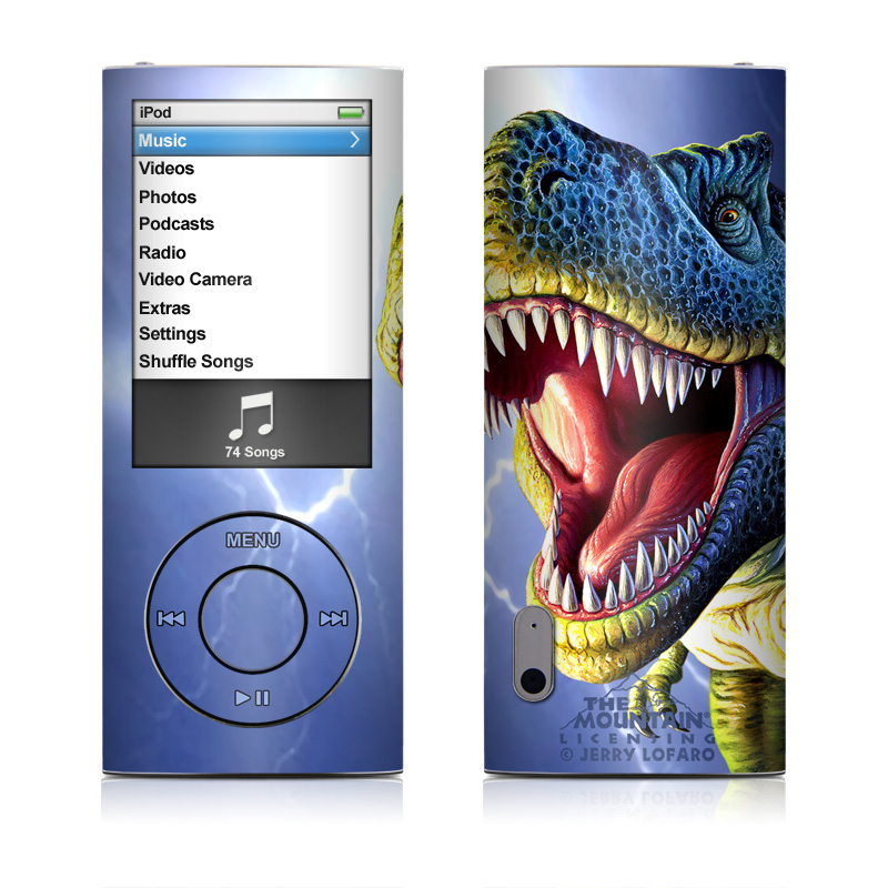 iPod nano 5th Gen Skin design of Dinosaur, Extinction, Tyrannosaurus, Velociraptor, Tooth, Jaw, Organism, Mouth, Fictional character, Art with blue, green, yellow, orange, red colors
