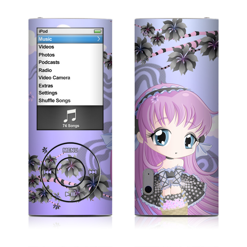 iPod nano 5th Gen Skin design of Cartoon, Anime, Violet, Illustration, Pink, Purple, Lilac, Text, Graphic design, Cg artwork with purple, pink, yellow, black, white colors