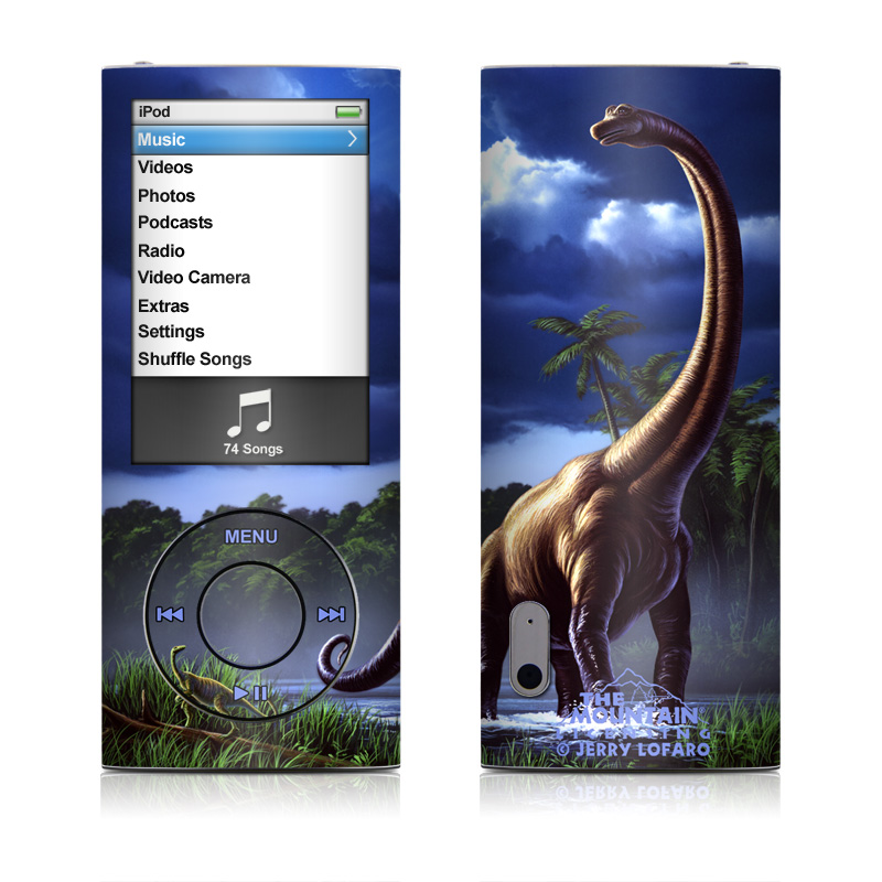 iPod nano 5th Gen Skin design of Dinosaur, Wildlife, Terrestrial animal, Grass, Extinction, Animal figure, Art with blue, green, brown, purple colors