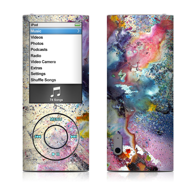 iPod nano 5th Gen Skin design of Watercolor paint, Painting, Acrylic paint, Art, Modern art, Paint, Visual arts, Space, Colorfulness, Illustration with gray, black, blue, red, pink colors