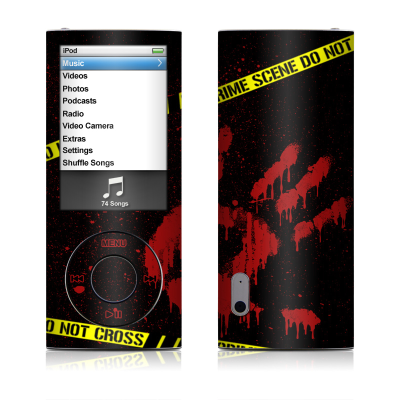 iPod nano 5th Gen Skin design of Red, Black, Font, Text, Logo, Graphics, Graphic design, Room, Carmine, Fictional character with black, red, green colors