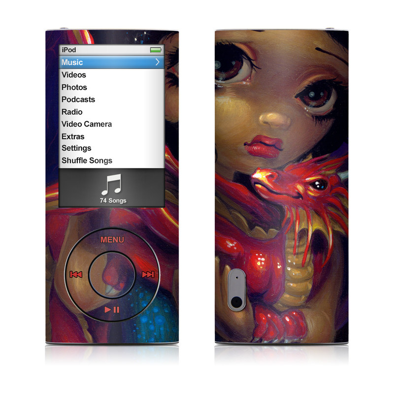 iPod nano 5th Gen Skin design of Doll, Illustration, Art, Toy, Fictional character with black, red, green colors