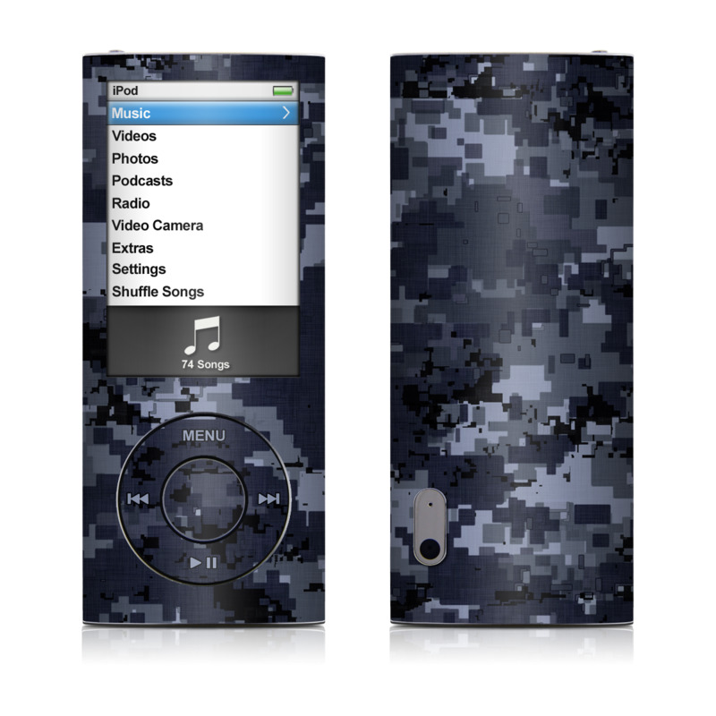 iPod nano 5th Gen Skin design of Military camouflage, Black, Pattern, Blue, Camouflage, Design, Uniform, Textile, Black-and-white, Space with black, gray, blue colors