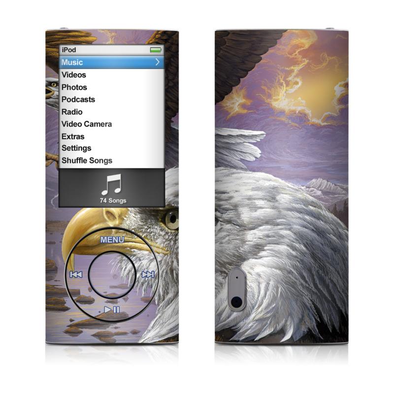 iPod nano 5th Gen Skin design of Bird, Bird of prey, Bald eagle, Vertebrate, Eagle, Accipitriformes, Accipitridae, Golden eagle, Beak, Hawk with gray, black, green, red, purple colors