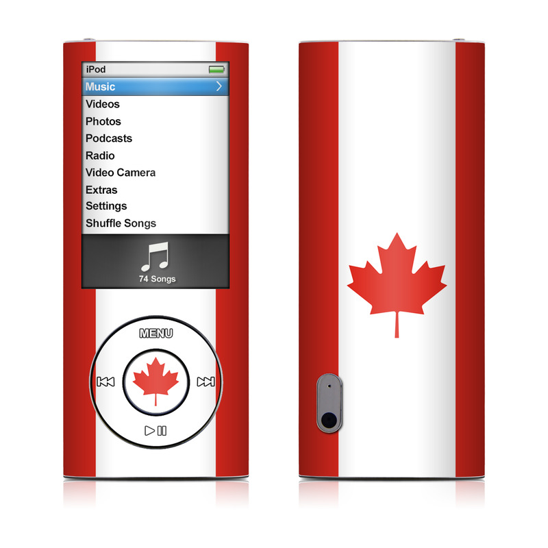 iPod nano 5th Gen Skin design of Red, Maple leaf, Tree, Leaf, Woody plant, Flag, Plant, Plane, Red flag, Maple with red, white colors