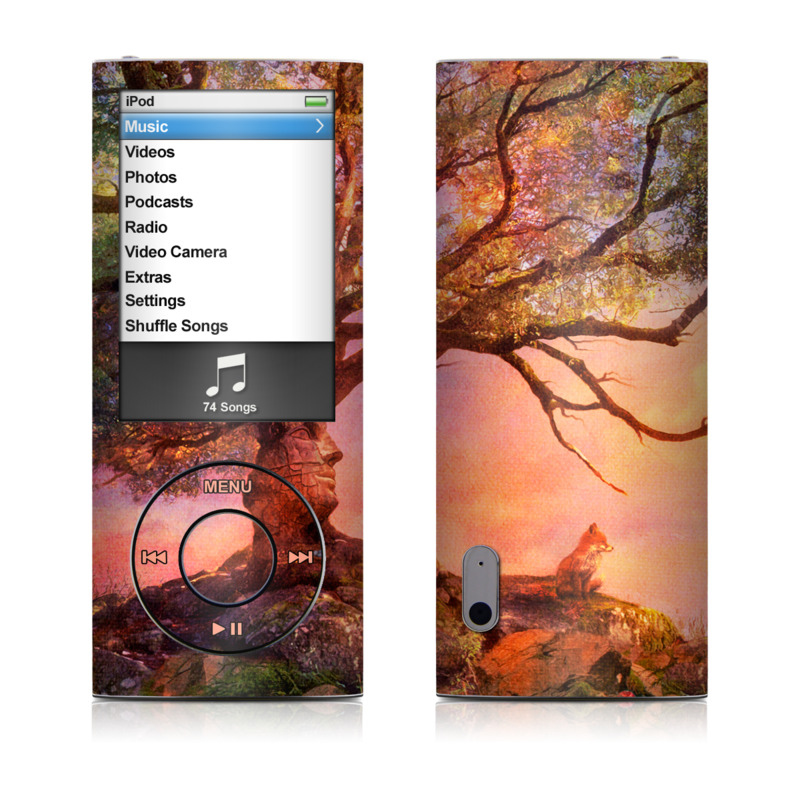 iPod nano 5th Gen Skin design of Nature, Tree, Sky, Natural landscape, Branch, Leaf, Woody plant, Trunk, Landscape, Plant with pink, red, black, green, gray, orange colors