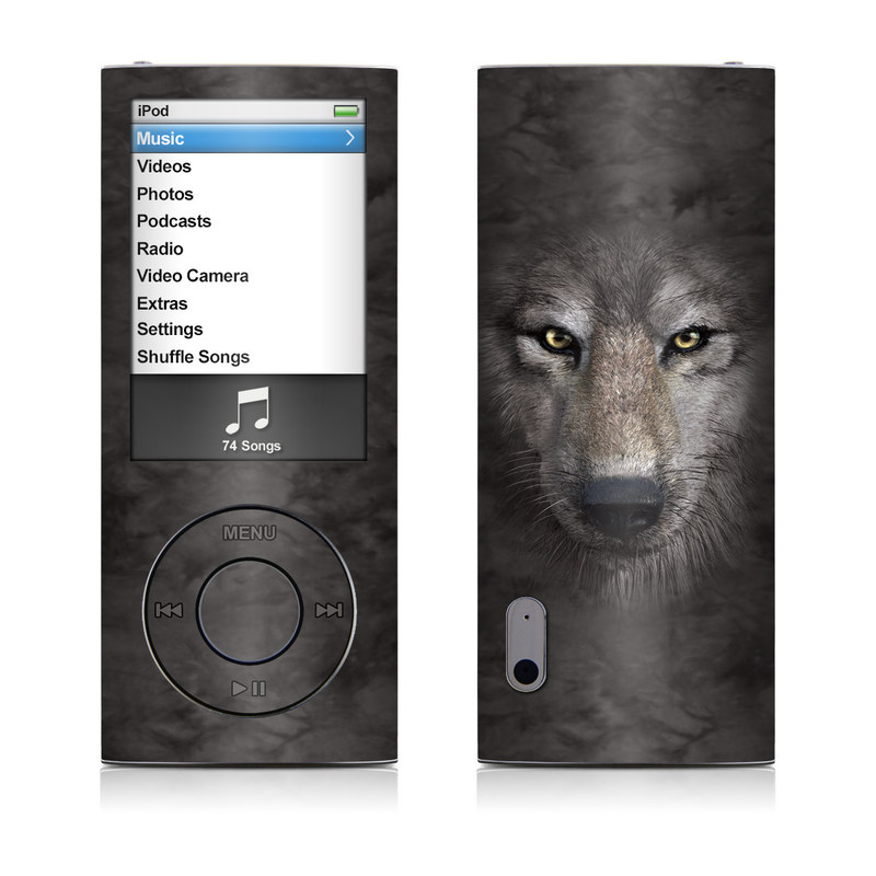 iPod nano 5th Gen Skin design of Vertebrate, Mammal, Wolf, Canidae, Wildlife, Snout, Czechoslovakian wolfdog, Eye, Wolfdog, Canis with black, gray, red, green colors