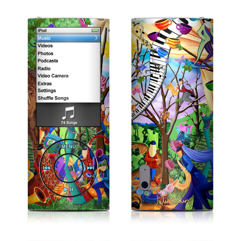 iPod nano 5th Gen Skin design of Modern art, Art, Mural, Painting, Psychedelic art, Visual arts, Tree, Child art, Organism, Plant with black, gray, red, green, blue colors