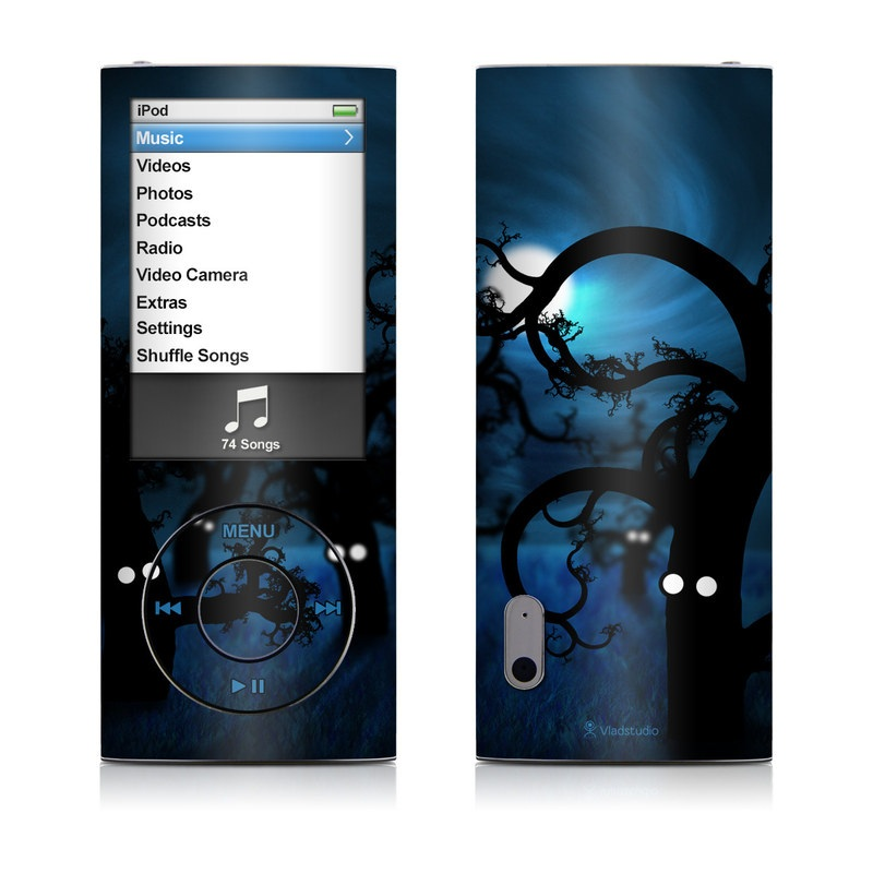 iPod nano 5th Gen Skin design of Blue, Sky, Light, Darkness, Tree, Night, Branch, Atmosphere, Midnight, Architecture with black, blue colors