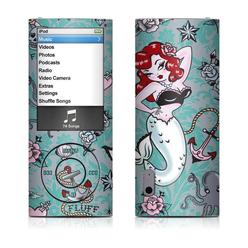 iPod nano 5th Gen Skin design of Mermaid, Illustration, Fictional character, Organism, Art, Pattern, Style with gray, blue, black, red, white, pink colors