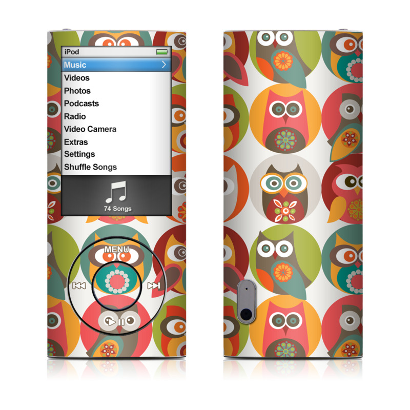 iPod nano 5th Gen Skin design of Owl, Product, Clip art, Orange, Bird, Bird of prey with red, yellow, gray, green, orange, blue colors