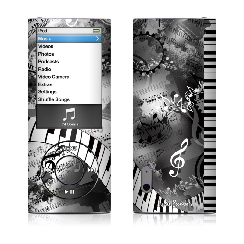 iPod nano 5th Gen Skin design of Music, Monochrome, Black-and-white, Illustration, Graphic design, Musical instrument, Technology, Musical keyboard, Piano, Electronic instrument with black, gray, white colors