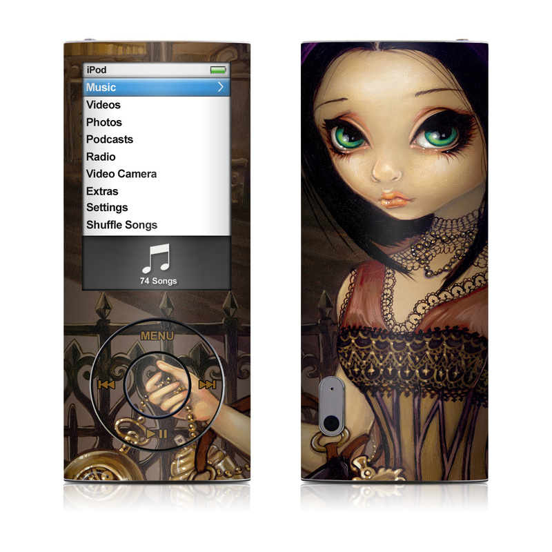 iPod nano 5th Gen Skin design of Doll, Purple, Illustration, Cg artwork, Art, Toy, Black hair, Iris, Visual arts, Fawn with black, red, green, gray colors