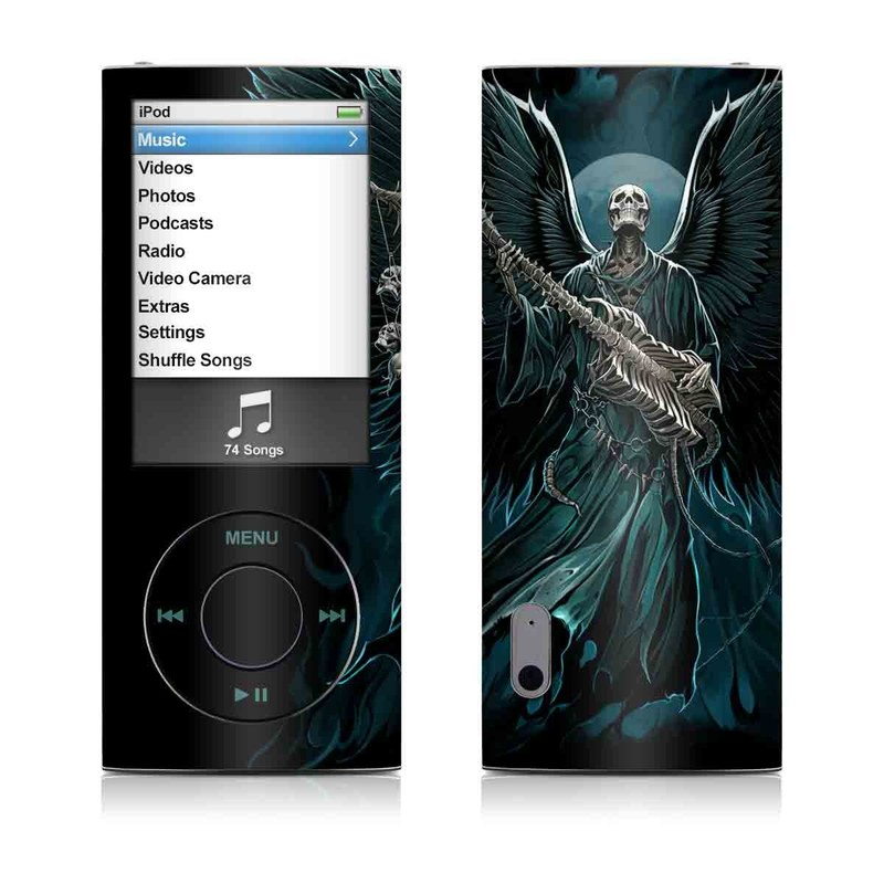 iPod nano 5th Gen Skin design of Angel, Wing, Supernatural creature, Fictional character, Illustration, Mythology, Darkness, Graphic design, Art with black, blue, white colors