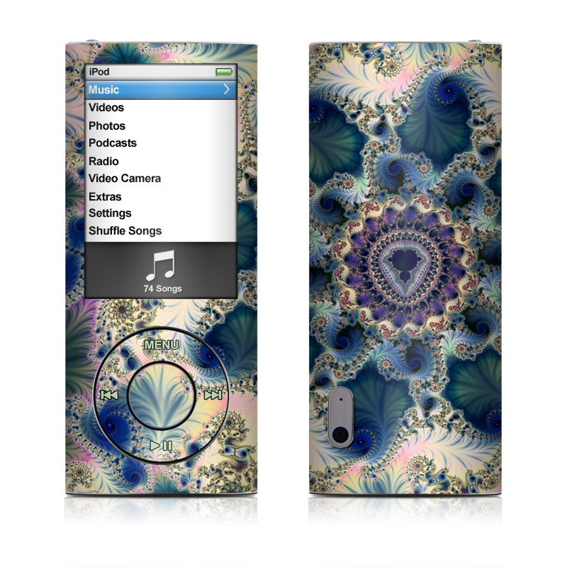 iPod nano 5th Gen Skin design of Fractal art, Pattern, Blue, Organism, Turquoise, Symmetry, Aqua, Art, Design, Close-up with gray, black, pink, blue, green colors