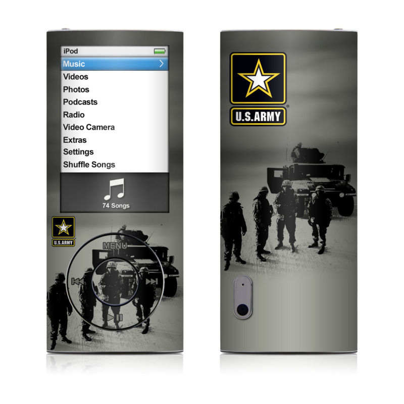 iPod nano 5th Gen Skin design of Motor vehicle, Army, Soldier, Military organization, Armored car, Military, Troop, Vehicle, Infantry, Military vehicle with black, yellow, white, gray colors
