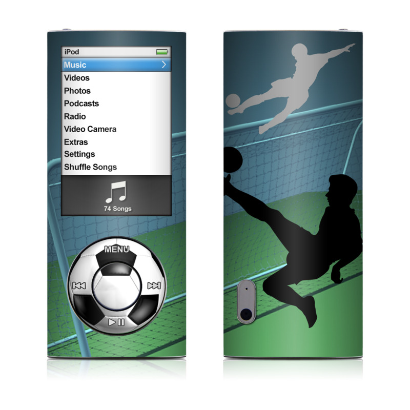 iPod nano 5th Gen Skin design of Soccer ball, Football, Soccer kick, Player, Ball, Volleyball player, Sports equipment, Kick, Net, Score a goal with green, black, blue, gray colors