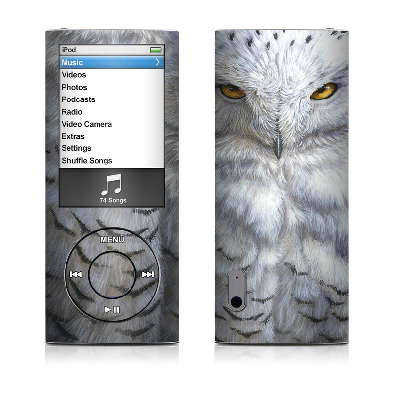 iPod nano 5th Gen Skin design of Owl, Bird, Bird of prey, Snowy owl, great grey owl, Close-up, Eye, Snout, Wildlife, Eastern Screech owl with gray, white, black, blue, purple colors