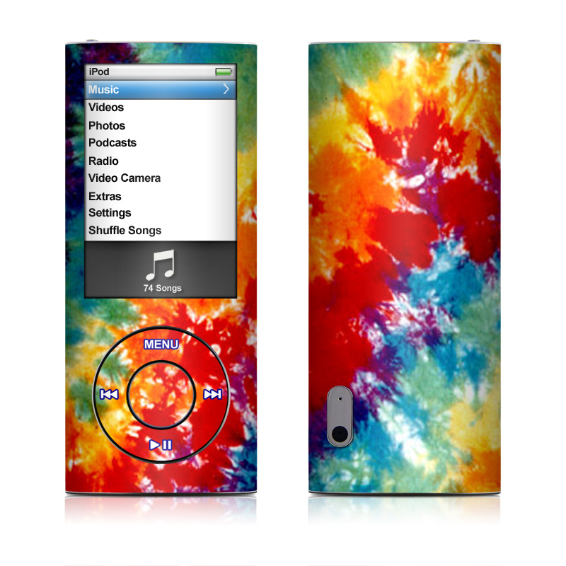 iPod nano 5th Gen Skin design of Orange, Watercolor paint, Sky, Dye, Acrylic paint, Colorfulness, Geological phenomenon, Art, Painting, Organism with red, orange, blue, green, yellow, purple colors