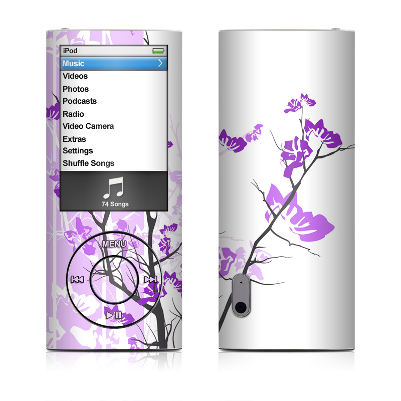 iPod nano 5th Gen Skin design of Branch, Purple, Violet, Lilac, Lavender, Plant, Twig, Flower, Tree, Wildflower with white, purple, gray, pink, black colors