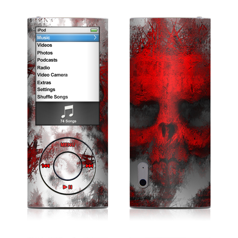 iPod nano 5th Gen Skin design of Red, Graphic design, Skull, Illustration, Bone, Graphics, Art, Fictional character with red, gray, black, white colors
