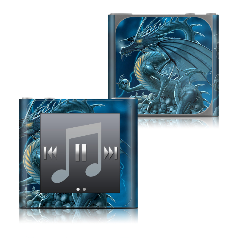 iPod nano 6th Gen Skin design of Cg artwork, Dragon, Mythology, Fictional character, Illustration, Mythical creature, Art, Demon with blue, yellow colors