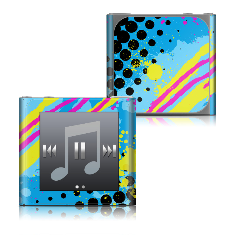 iPod nano 6th Gen Skin design of Blue, Colorfulness, Graphic design, Pattern, Water, Line, Design, Graphics, Illustration, Visual arts with blue, black, yellow, pink colors