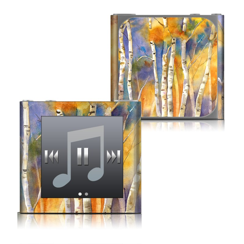 iPod nano 6th Gen Skin design of Canoe birch, Watercolor paint, Tree, Birch, Woody plant, Painting, Plant, Birch family, Paint, Trunk with orange, yellow, green, white, purple, blue colors